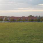 Bild von hinter der Wiesen gegenüber der Vorderseite des Hauses