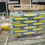 Kalk-Zementputz für die Feuchträume (ansonsten kommt an die Wände Gipsputz)