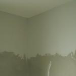 Oberer geglätteter Wandbereich im Bad (unterhalb kommen die Fliesen)