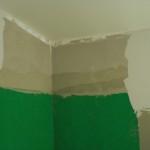 Im Duschbereich wird Deckenhoch verfliest, daher hat der Maler die Wand hier so belassen
