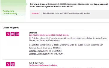 Screenshot der DSL-Verfügbarkeit bei der Telekom