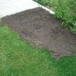 """Nun """"hängt"""" die Gartenhausstellfläche nicht mehr in der Luft - Neuer Rollrasen folgt"""