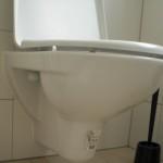 Hartnäckiges Klebetikett auf dem WC-Becken