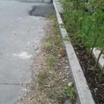 Grenze der Straße zu unserem Grundstück