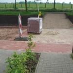 Das war der Stand der Bauarbeiten vor Feier- und Brückentag direkt vor  unserem Reihenhaus